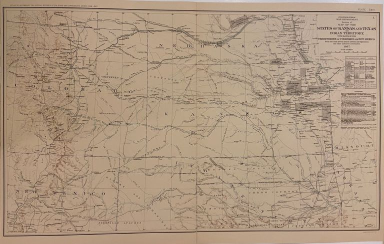 Section of the Map of the States of Kansas and Texas and Indian Territory, with Parts of the Territories of Colorado and New Mexico. Julius BIEN, War Dept. Engineer Bureau.
