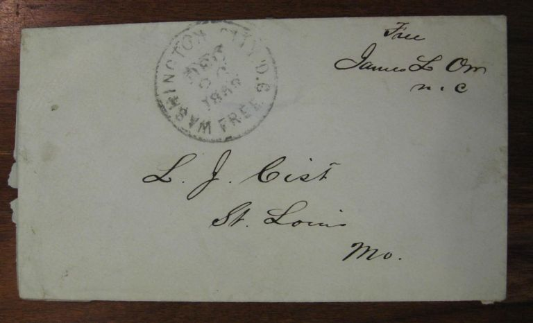 Signed Envelope as Congressman. James L. ORR, 1822 - 1873.