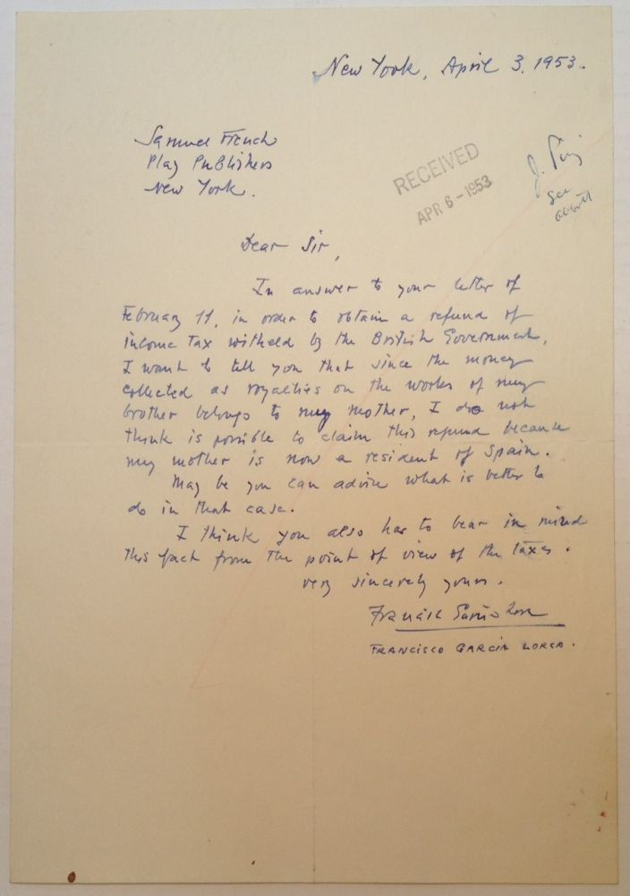 Autographed Letter Signed to the Samuel French company. Francisco GARCIA LORCA, 1902 - 1976.
