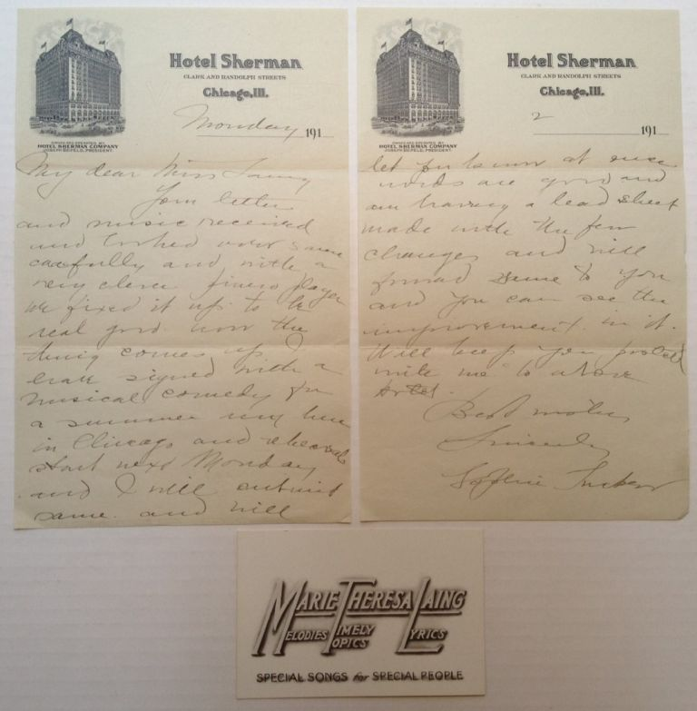 Autographed Letter Signed on hotel stationery. Sophie TUCKER, 1887 - 1966.