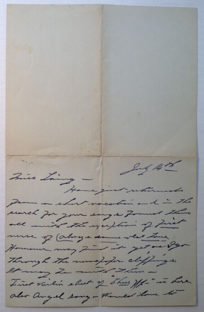 Autographed Letter Signed to songwriter Maria Theresa Laing. Eva TANGUEY, 1878 - 1947.