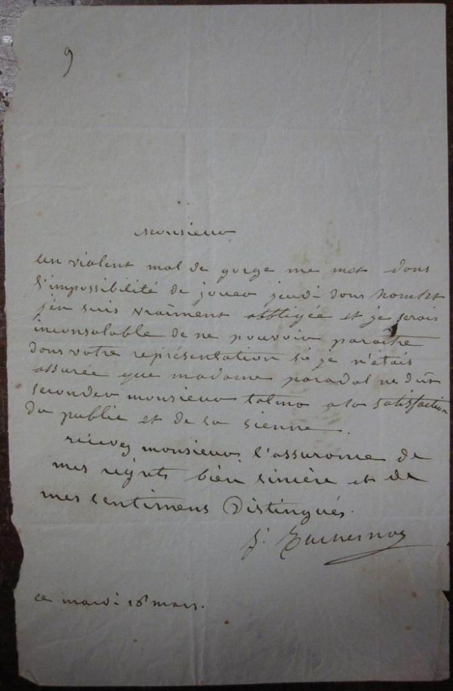 Autographed Letter Signed in French. Mademoiselle DUCHESNOY.