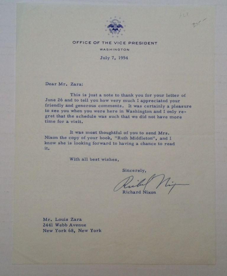 Typed Letter Signed as Vice President. Richard M. NIXON, 1913 - 1994.
