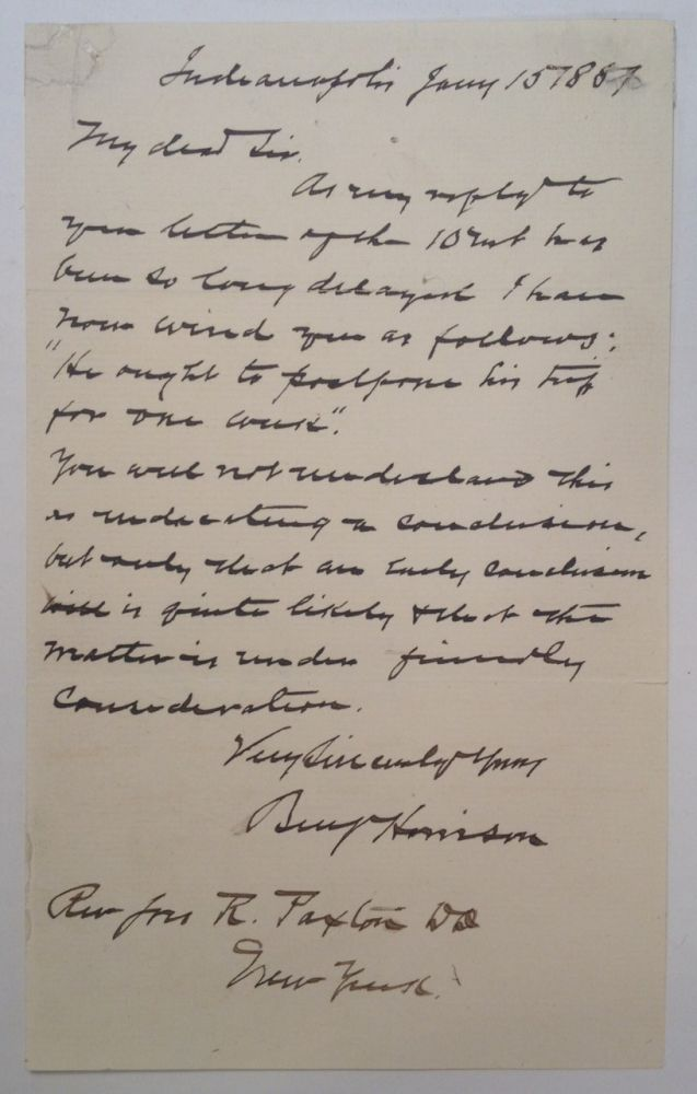 Autographed Letter Signed as President-elect. Benjamin HARRISON, 1833 - 1901.
