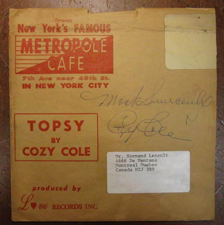 Signed Record. Cozy COLE, 1909 - 1981.