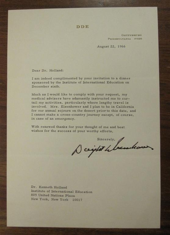 Typed Letter Signed on Personal Stationery. Dwight D. EISENHOWER, 1890 - 1969.