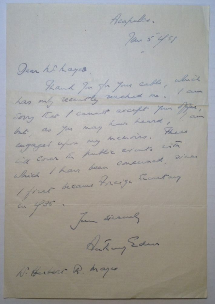 Autographed Letter Signed to editor Herbert Mayes. Anthony EDEN, 1897 - 1977.
