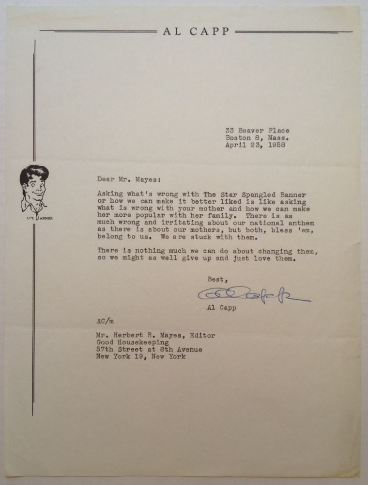 Typed Letter Signed to editor Herbert Mayes. Al CAPP, 1909 - 1979.