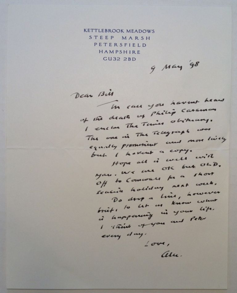 "Autographed Letter Signed ""Alec"" on personal stationery. Alec GUINNESS, 1914 - 2000."
