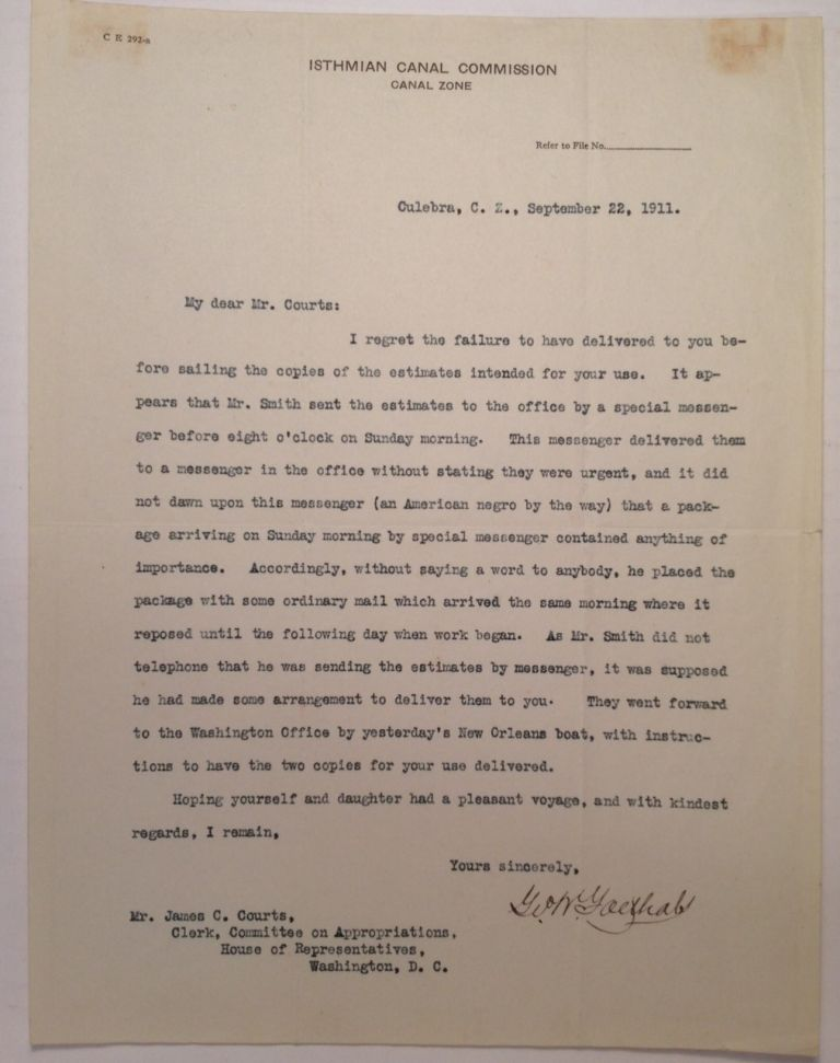 """Typed Letter Signed on """"Isthmian Canal Commission"""" letterhead. George Washington GOETHALS, 1858 - 1928."""