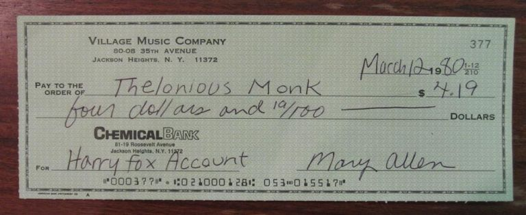 Signed Royalty Check. Thelonious MONK, 1917 - 1982.