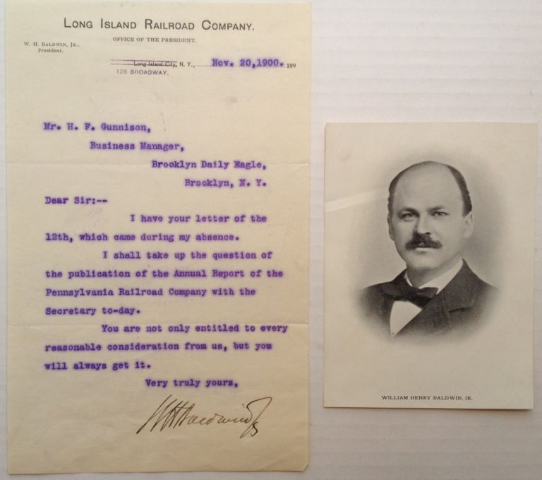 "Typed Letter Signed on ""Long Island Railroad Company"" letterhead. William Henry BALDWIN, 1863 - 1905."