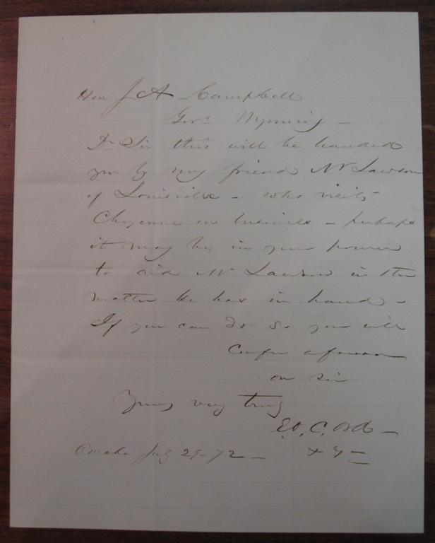 Autographed Letter Signed to the Governor of the Wyoming Territories. Edward O. C. ORD, 1818 - 1883.