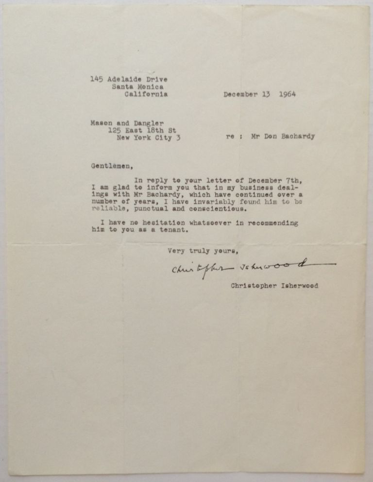 Typed Letter Signed. Christopher ISHERWOOD, 1904 - 1986.