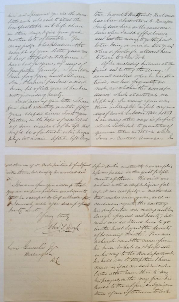 8-Page Autographed Letter Signed. John T. DOYLE, 1819 - 1906.