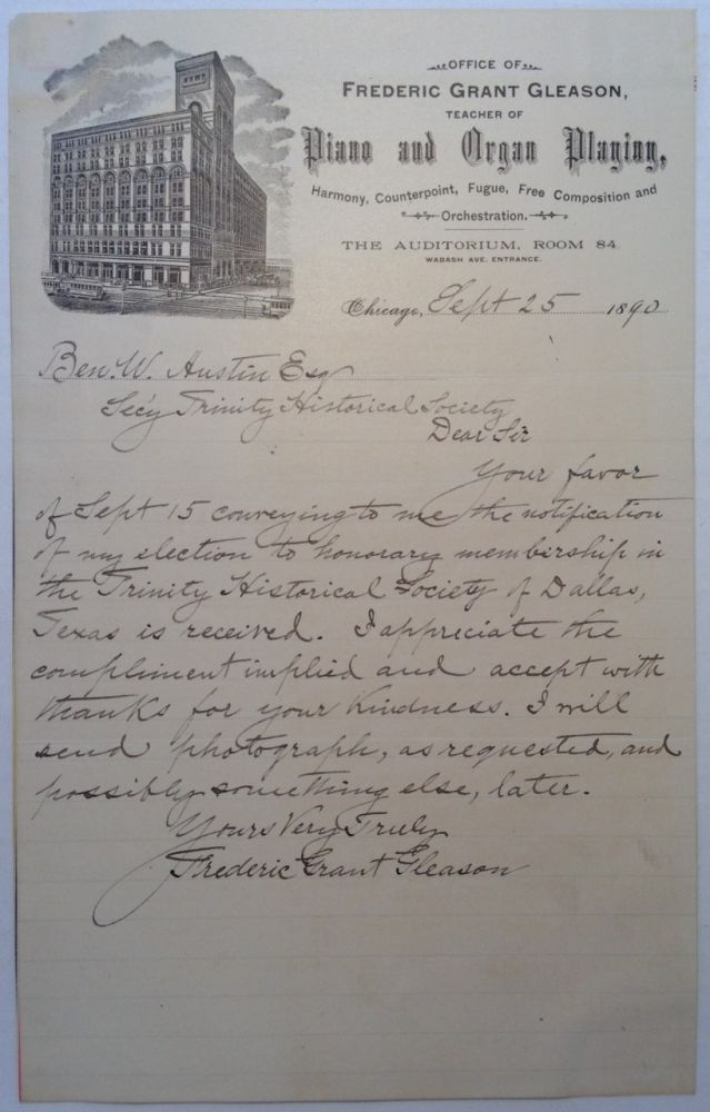 Autographed Letter Signed on personal letterhead. Frederic Grant GLEASON, 1848 - 1903.