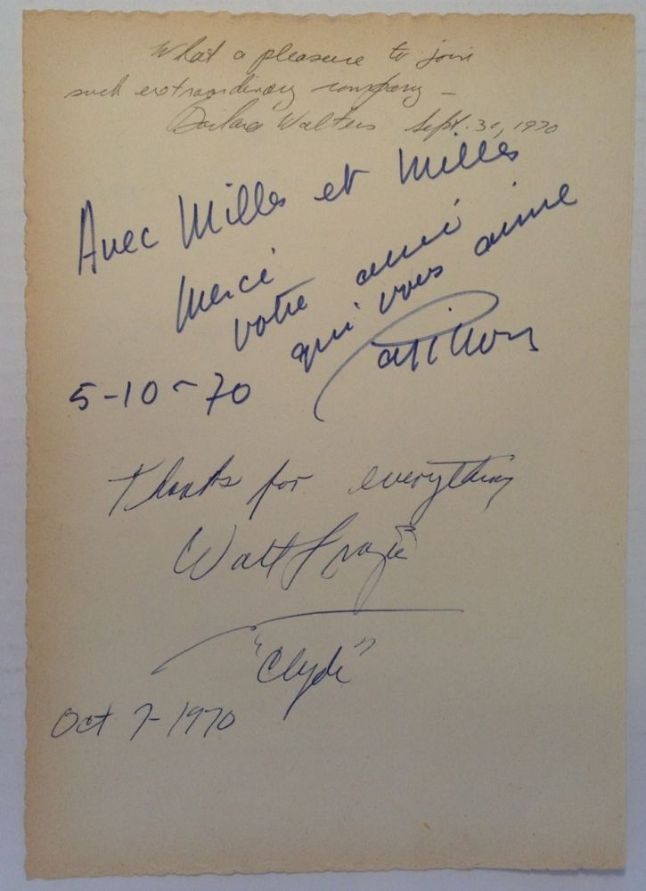 "Signed Guest Book Page. Walt ""Clyde"" FRAZIER."