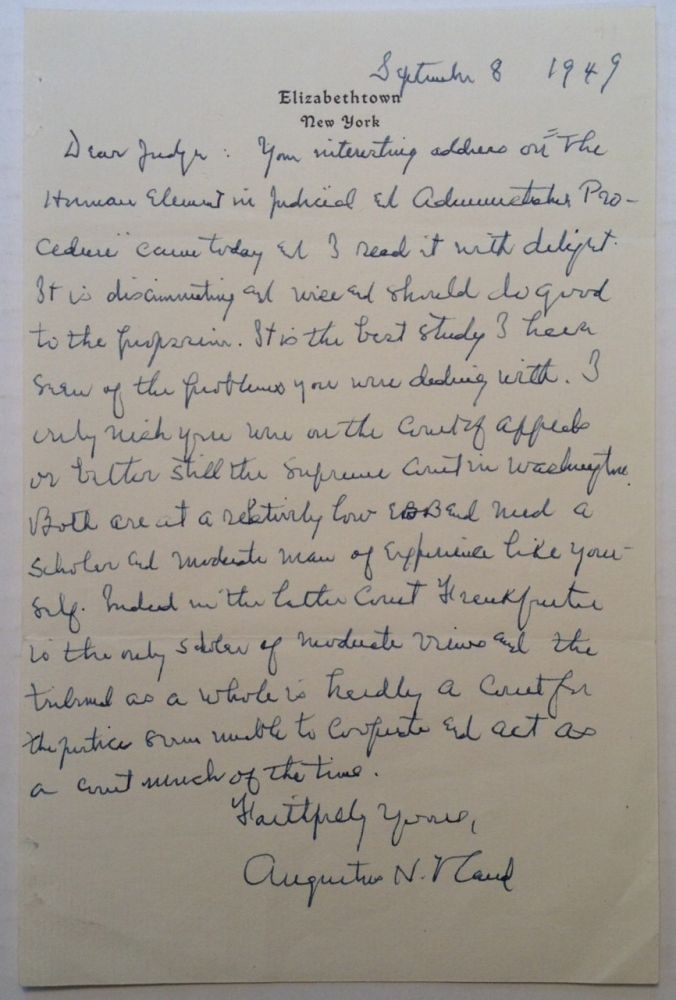 Autographed Letter Signed to Judge Bernard Shientag. Augustus HAND, 1869 - 1954.