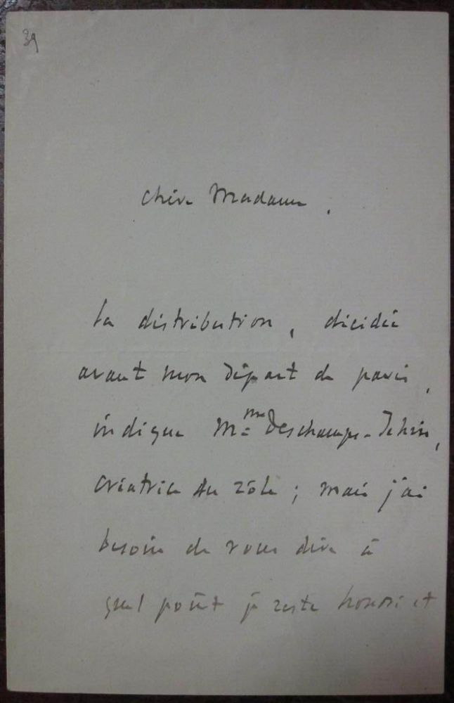 Autographed Letter Signed in French. Jules MASSENET, 1842 - 1912.