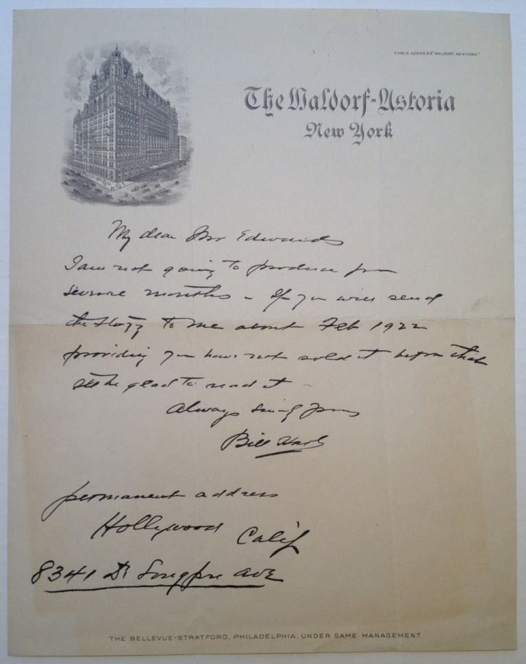 "Autographed Letter Signed on vintage ""Waldorf Astoria"" stationery. William S. HART, 1864 - 1946."