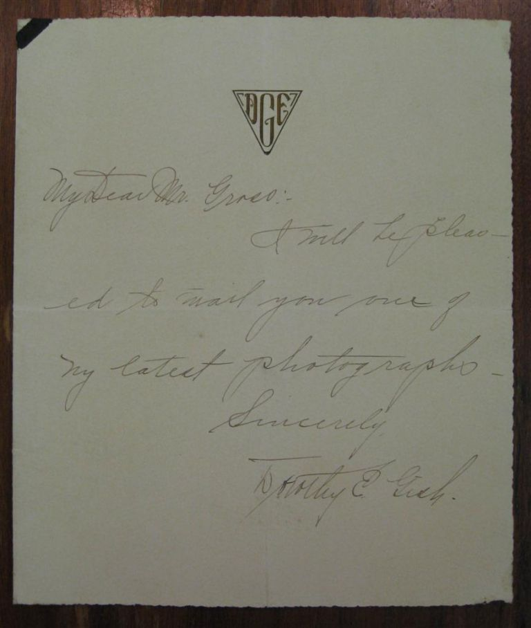 Autographed Note Signed. Dorothy GISH, 1898 - 1968.