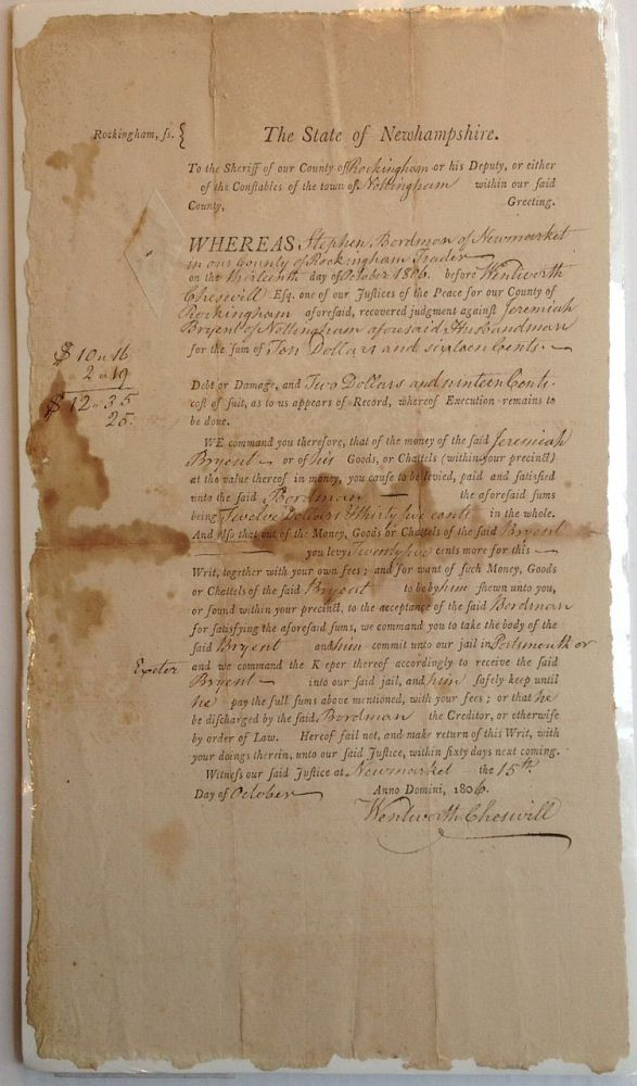 Document Signed as a Judge. Wentworth CHESWELL, 1746 - 1817.
