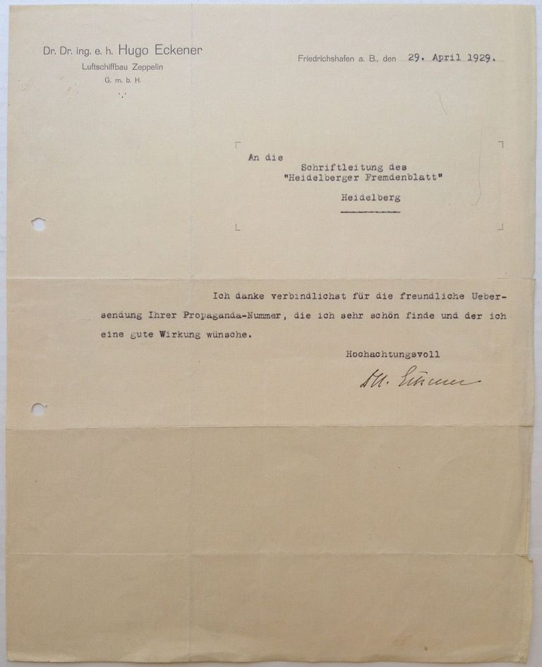 Typed Letter Signed in German. Hugo ECKENER, 1868 - 1954.
