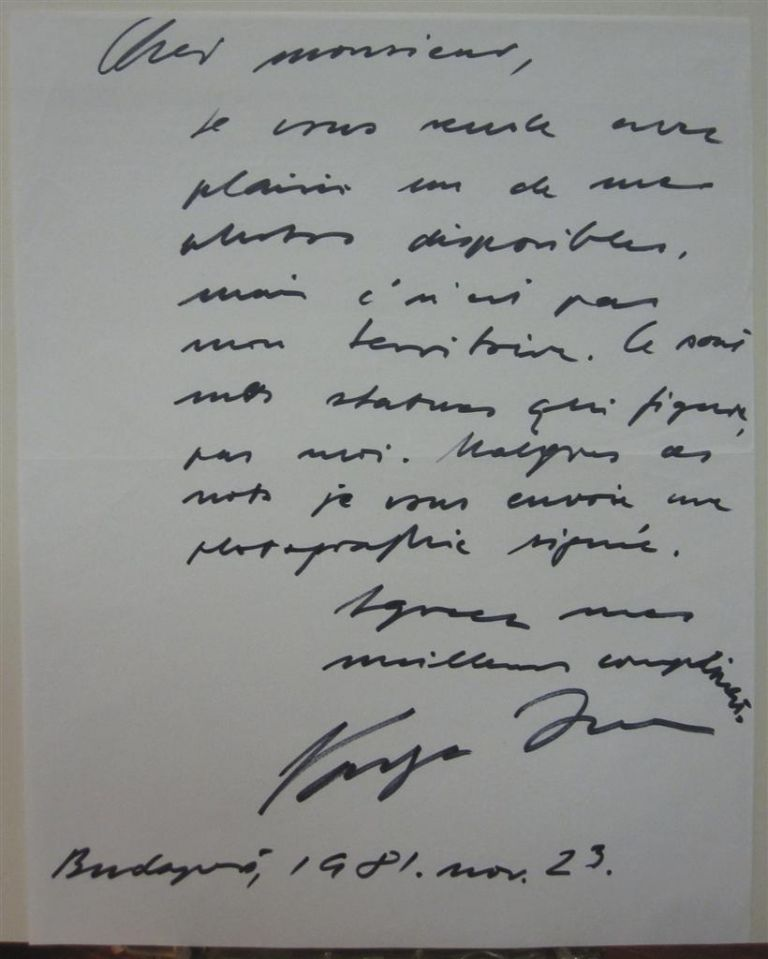 Autographed Letter Signed in French. Varga IMRE.