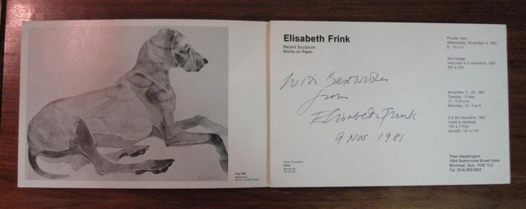 Inscribed Brochure. Dame Elisabeth FRINK.