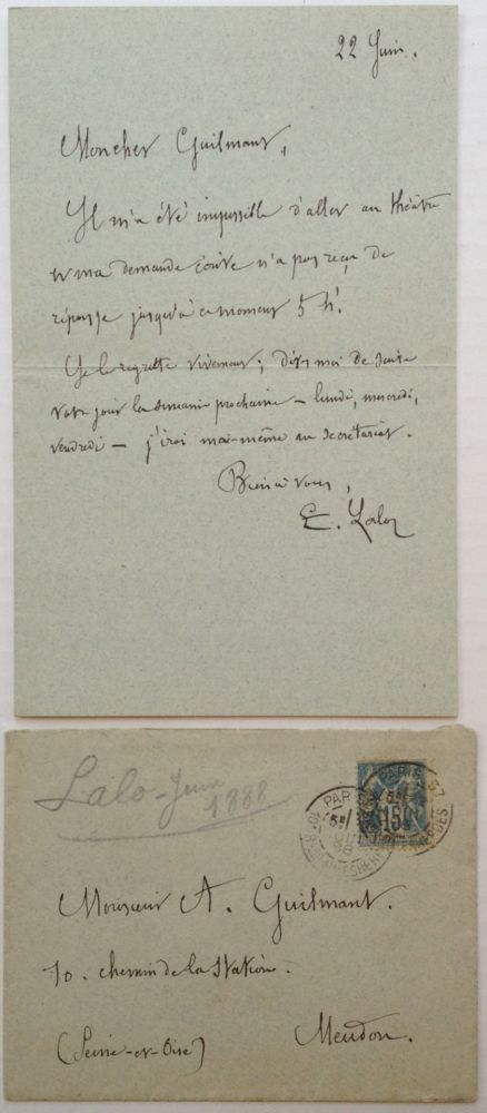 Autographed Letter Signed in French. Edouard LALO, 1823 - 1892.