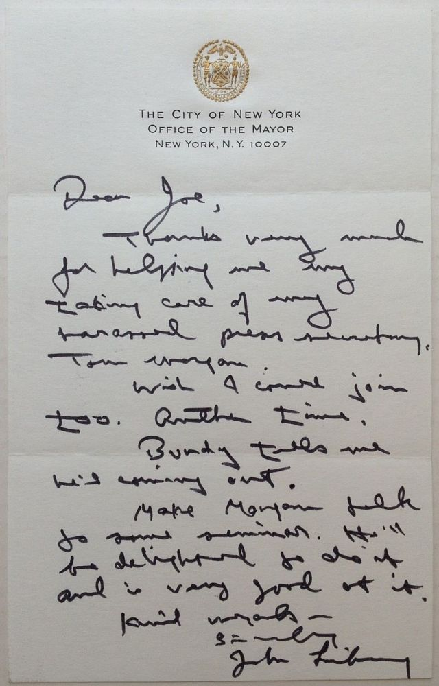 Autographed Letter Signed on official letterhead. John V. LINDSAY, 1924 - 2000.