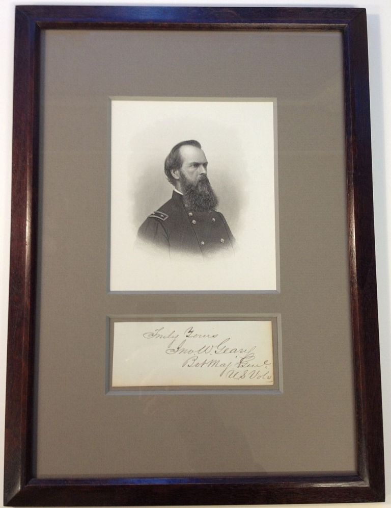 Clipped Signature Framed. John W. GEARY, 1819 - 1873.