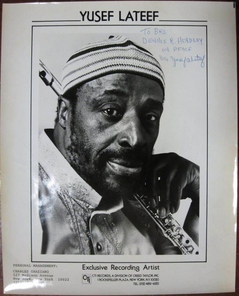 Inscribed Photograph. Yusef LATEEF, 1920 - 2013.