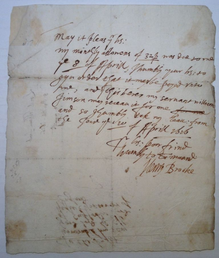 Autographed Letter Signed to the Earl of Suffolk. Henry - 11th Baron Cobham BROOKE, 1564 - 1619.