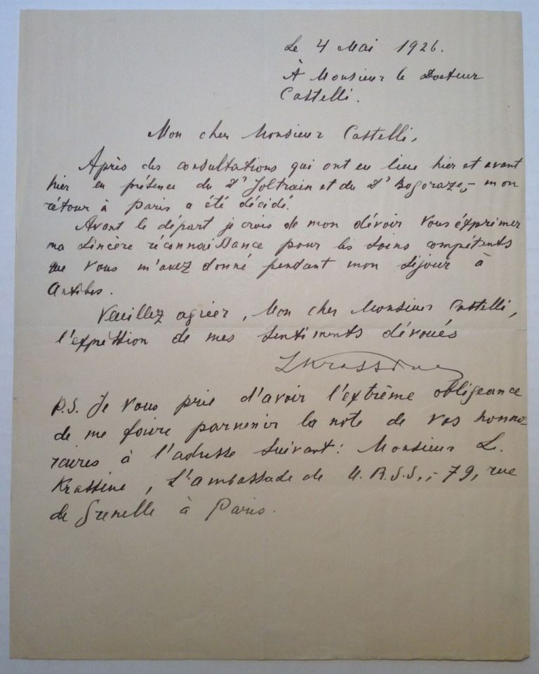 Autographed Letter Signed in French. Leonid Borisovich KRASSINE, 1870 - 1926.