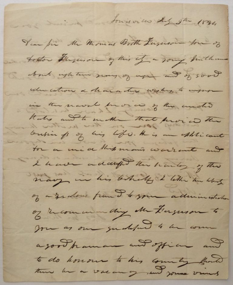 Autographed Letter Signed to President Andrew Jackson. James GUTHRIE, 1792 - 1869.