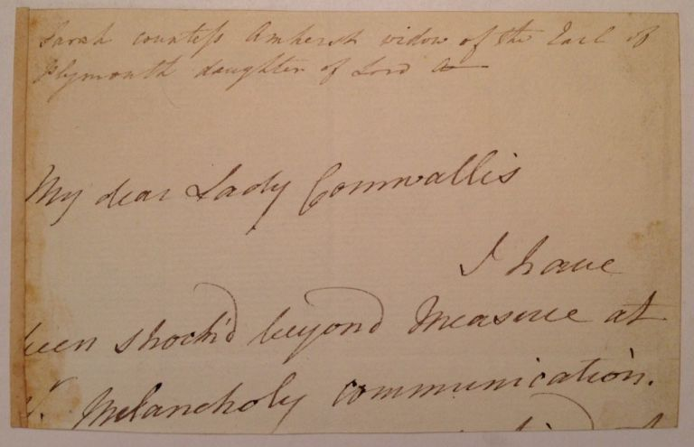 Fragment of a Signed Letter. Lord Jeffrey AMHERST, 1717 - 1797.