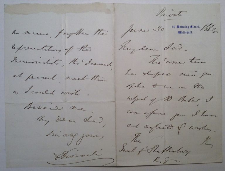 Autographed Letter Signed to the Earl of Shaftsbury. Benjamin DISRAELI, 1804 - 1881.