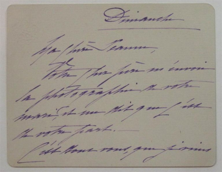 Autographed Note Signed in French. Ferdinand DE LESSEPS.