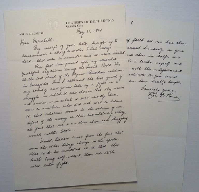 "Autographed Letter Signed on personal ""University of The Philippines"" letterhead. General Carlos P. ROMULO."