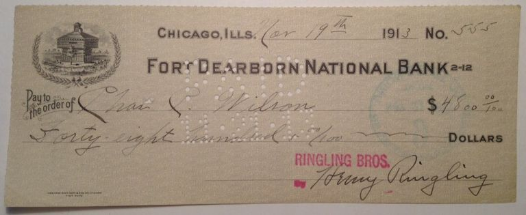 Signed Cancelled Check. Henry RINGLING, 1869 - 1918.