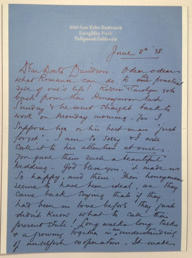 Autographed Letter Signed to a Minister. Basil RATHBONE, 1892 - 1967.