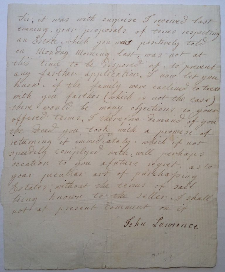 Autographed Letter Signed about a real estate deed. John LAURENCE, 1750 - 1810.
