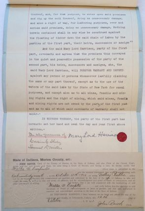 Signed Land Indenture. Mary Lord HARRISON, 1858 - 1948