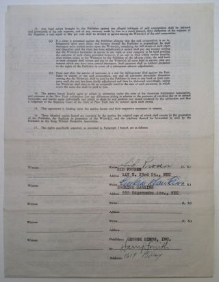Signed Songwriters Contract