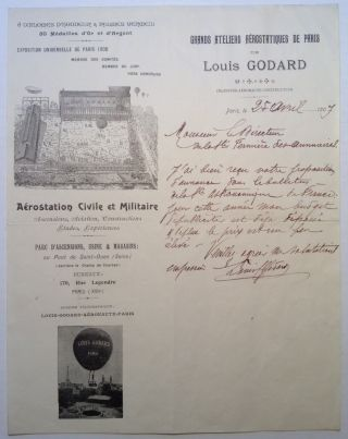 Autographed Letter Signed in French by the Ballooning Pioneer. Louis GODARD