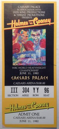 Original Signed Heavyweight Championship Ticket. Gerry COONEY, LeRoy NEIMAN