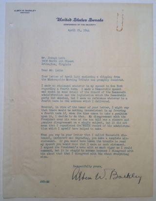 "Important Typed Letter Signed on ""United States Senate"" letterhead. Alben W. BARKLEY, 1877 - 1956."