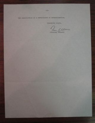 Typed Letter Signed as Attorney General