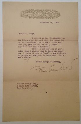 Typed Letter Signed to cartoonist Art Young. Frank CROWNINSHIELD, 1872 - 1947